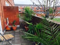 Hackney: a large twin room with own terrace at Waterloo Close, East London, E9