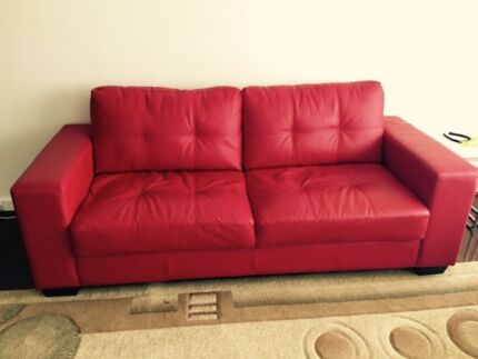 Red bonded leather sofa  Morley Bayswater Area Preview