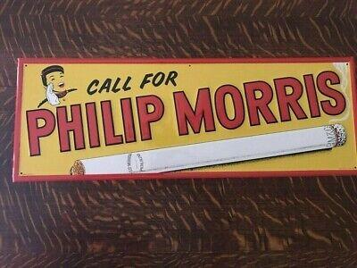 "VINTAGE MINT EMBOSSED PHILLIP MORRIS SIGN 1930""S?   27 IN X 10 IN"