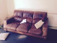 URGENT IM MOVING HOUSE AND NEED MY BED AND ×2 3 SEATER SOFAS BROWN ALL FOR £100 GOOD CONDITION
