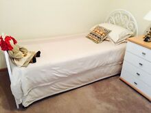 White Metal Single Bed & Trundle Bed & full innerspring Mattresses x2 Bolton Point Lake Macquarie Area Preview
