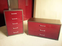 Set of Red Gloss Chest Of Drawers