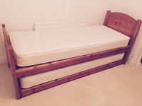 John Lewis Dark wood Morgan Guest bed (2 singles) with decorative headboard £250