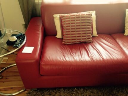 Sofa: red leather Subiaco Subiaco Area Preview