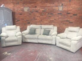 DFS Ex Display Oatmeal Reclining 3 Piece Suite - Can Deliver