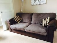 3 seater sofa and chair. Good condition. Comes with care products smoke free house,