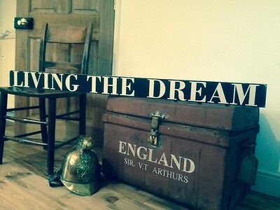 Living The Dream Sign vintage Old Look 4.5ft Long Party Kitchen Wood Pub Hotel