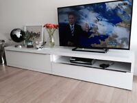 Price Reduction: now ONLY £200. 2 Matching White TV Cabinets