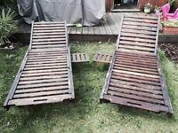 2 Wooden Sunbeds