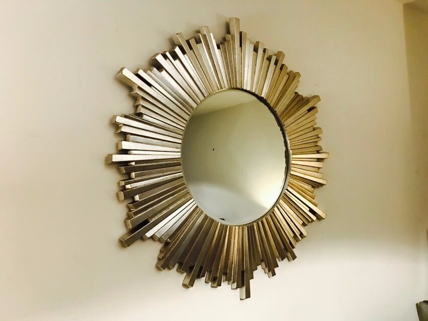 New Laura Ashley Silver Round Circle Wall Mirror Sun Sunburst 95 Cm Bedroom Hall Lounge Rrp