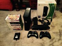 Xbox 360 slim 250GB inc 2 controllers kinect and 15 games