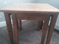 Two nest solid wood beech wood tables
