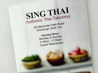 Thai Takeaway Staff Needed - Comi Chef - Delivery Driver - Counter Assistant