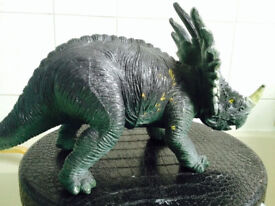 Green High Quality Hard Detailed Plastic Triceratops Solid Toy Dinosaur Figure