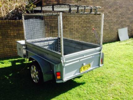 Registered, 6 by 4 steel trailer with cage and  front storage box Newport Pittwater Area Preview