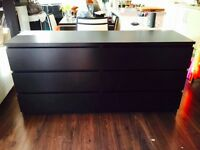 IKEA MALM CHEST OF DRAWERS WITH GLASS TOP - BLACK
