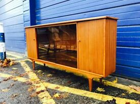 MID CENTURY TEAK GLAZED BOOKCASE - ANTIQUE RETRO VINTAGE
