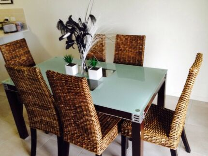 6 Seater dining table with glass top $300! Pimpama Gold Coast North Preview