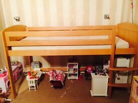 Aspace Raised Bed in Beech with Mattress - Immaculate Condition