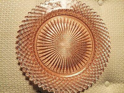 "Miss America Diamond Pattern Pink Depression Anchor Hocking Salad Plate 8.5"""
