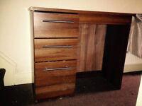 Desk smart 3 drawer melamine, Teak look, computer desk