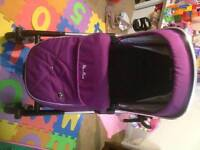 Sliver cross hood and footmuff excellent condition