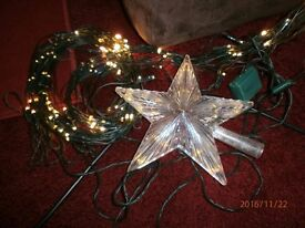 2 SETS OF USED TREE LIGHTS WITH LARGE STAR FOR TOP OF TREE THAT LIGHTS UP