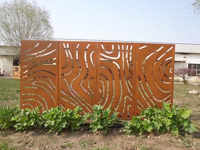 4st.Gartendeko Blumen Trennwand Sichtschutz Metall Paravent Edelrost Rost