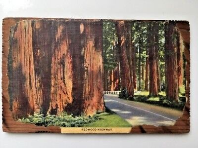 Giant Redwood Tree (CALIFORNIA GIANT REDWOOD TREE SOUVENIR-REAL WOOD POSTCARD 1950s PSMK)