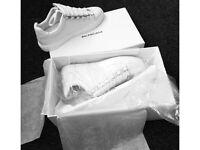 Balenciaga Arena White Low Top Non Creased Calfskin Leather Men's Trainers