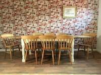 Ten-Twelve Seater Rustic Farmhouse Extending Dining Table Set with Antique Chairs