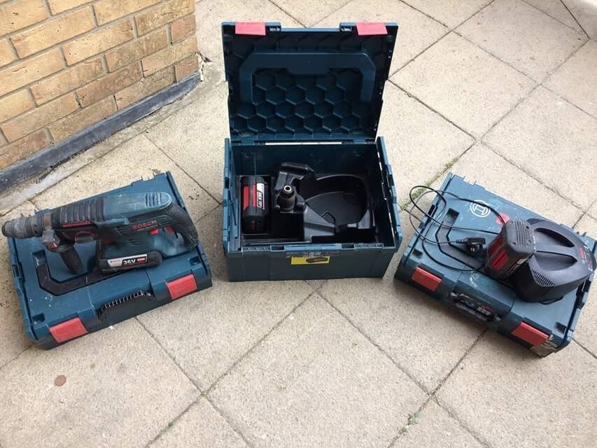 Bosch 36v sds plus drill and Bosch sortimo casesin Southampton, HampshireGumtree - Bosch 36v sds plus with 4ah li ion battery, changeable quick release chuck, charger carry case and 2x Bosch sortimo stackable boxes used but good condition £200 07701379738 or £250 with 2 X batteries £300 with 3 X batteries