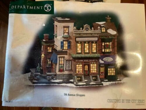 DEPT 56 Christmas In The City 5TH AVENUE SHOPPES NIB *Sleeve Water Damaged*