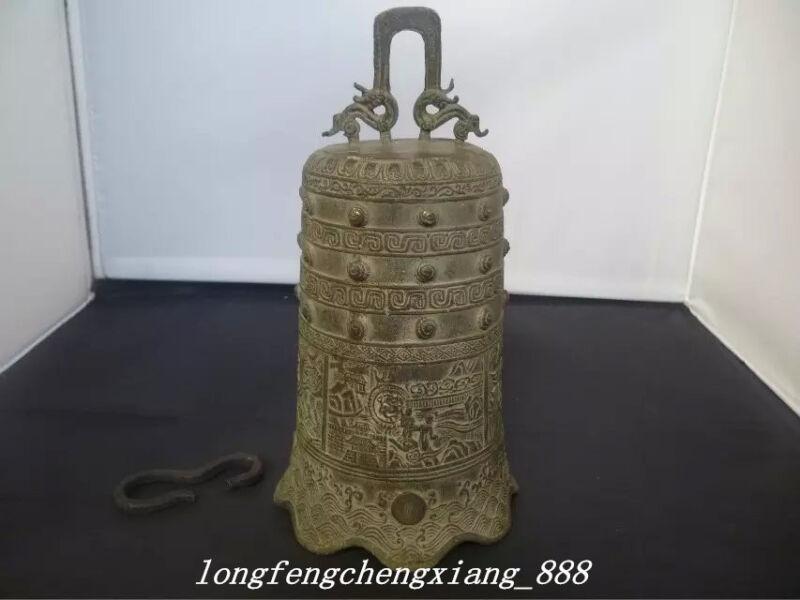 "9"" China Bronze Buddhism Auspicious Dragon Head Man Statue Temple Bell"