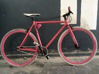 Custom Colour Single Speed Pink and White Road Bike Excellent Condition