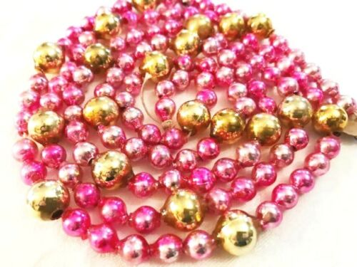 Beautiful Antique Pink & Gold Glass Beads Garland Christmas Vintage Ornament