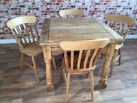 Extending Butterfly Rustic Farmhouse Dining Table Set - Drop Leaf - with Chairs