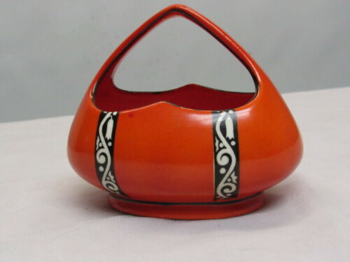 CZECH CORONET ART DECO POTTERY ATOMIC CHROME ORANGE BASKET