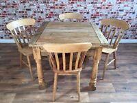Extending Rustic Farmhouse Dining Table Set - Drop Leaf - Folding, Ergonomic, Space Saving