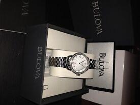 womens, diamond encrusted Bulova watch