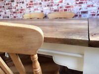 Up to Twelve Seater Farmhouse Extending Dining Table Set with Rustic Antique Chairs