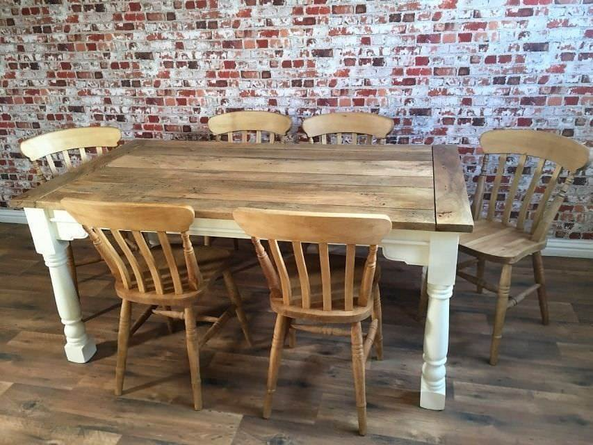 Up To Twelve Seater Rustic Farmhouse Extendable Dining Table Set With Antique Chairs