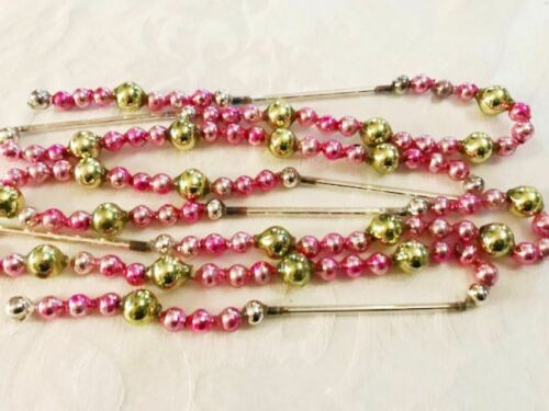 Xmas Tree Garland PINK & Chartreuse Antique Vintage Glass Beads & Silver Tubes