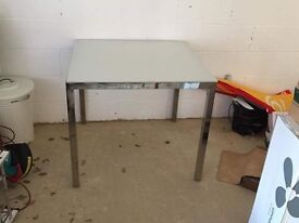Square glass top IKEA table with metal frame (85 x 85 cm)