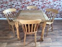 Extending Rustic Farmhouse Dining Table Set - Drop Leaf - Folding, Ergonomic, Space Saving