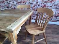 Extending Rustic Farmhouse Dining Table Set - Drop Leaf - with Chairs