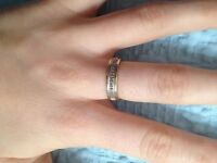 9ct Gold Diamond Half Eternity/Wedding Ring size N