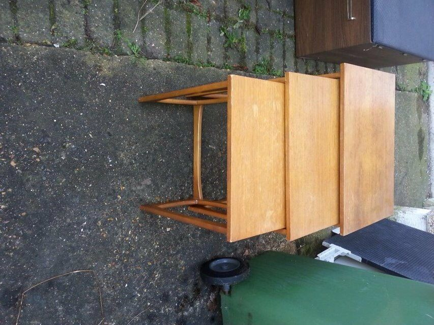 NEST OF TABLES IN TEAKin Hockley, EssexGumtree - SOLID WOOD NEST OF TEAK TABLES.IF I WERE KEEPING THEM I WOULD PAINT THEM IN BLACK. THESE ARE NOT RUBBISH WOOD JUST HAVE TO SMALL A HOUSE FOR ALL THIS FURNITURE I HAVE ACCUMULATED