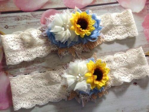 Bridal wedding Country Blue burlap sunflower garter set-regular to plus size.