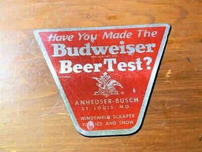 ANHEUSIER BUSCH BUDWEISER BEER TEST ALUMINUM ICE SCRAPER - ST. LOUIS MISSOURI